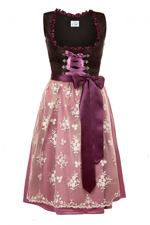Edelnice Trachtenmode Bavarian Women's Midi Dirndl Dress 2-Pieces+Apron Black Purple