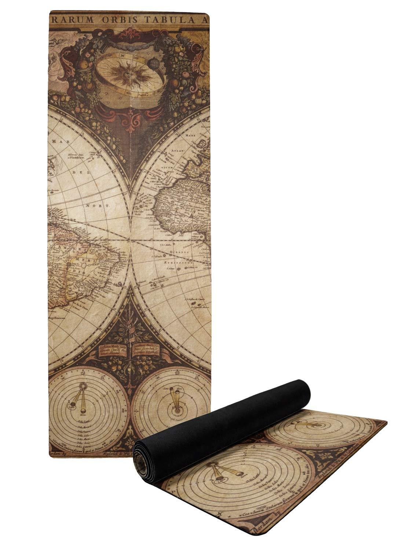 Vintage mapa del mundo Yoga Mat: Amazon.es: Deportes y aire ...
