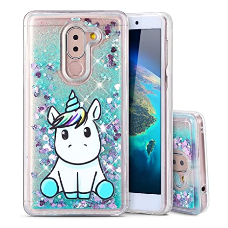 super popolare 25c96 cf5a2 Cover Huawei Honor 6X Custodia, Moevn Unicorno 3D Glitter Liquido  Trasparente Sabbie Mobili Morbida TPU Silicone Quicksand Antiurto  Protezione Case ...