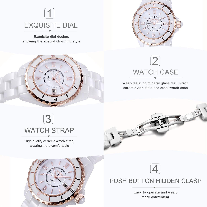 outlet store fa685 dbc86 Montre à quartz analogique pour femmes NAKZEN en or rose et céramique avec  bracelet en céramique mouvement japonais Miyota 30B étanche  Amazon.fr   Montres