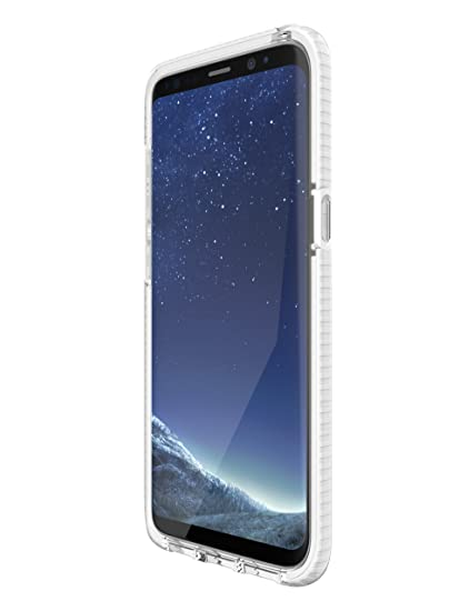 tech21 - Phone Case Compatible with Samsung Galaxy S8 - Evo Check -  Clear/White