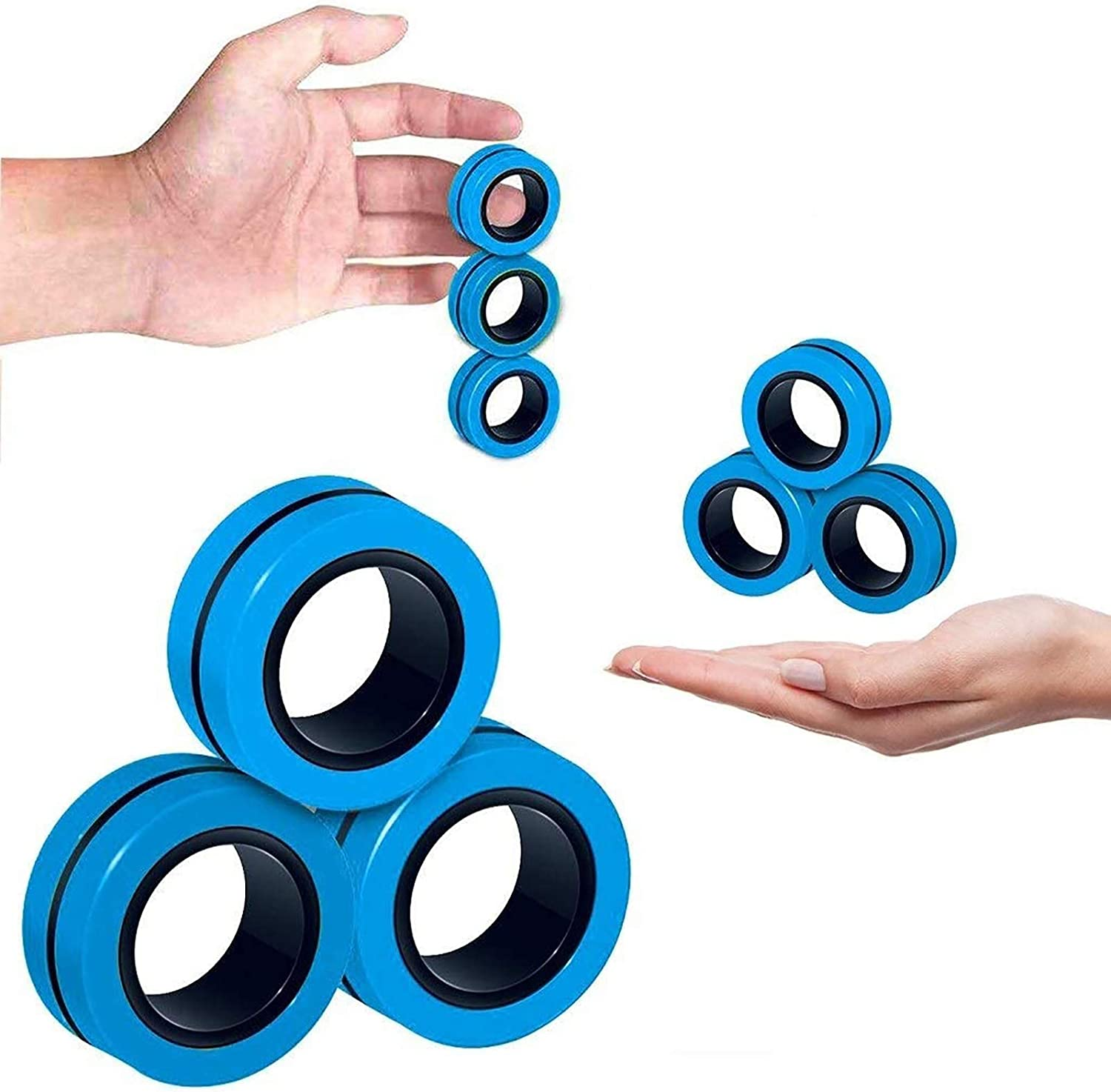 Amazon Com 3pcs Magnetic Finger Rings Fidget Toys Stress Anxiety Decompression Magical Ring Props Durable Unzip Hand Spinners Tools With Bearing Focus For Adults Children Toys Games