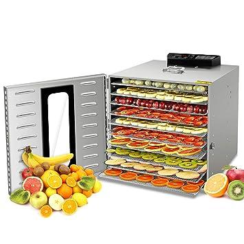 GCSJ 1000W Deshidratador Alimentos Temperatura Ajustable 30~90°C, Acero Inoxidable Completo, Temporizador de 24 horas, 10 Pisos Deshidratadora de ...