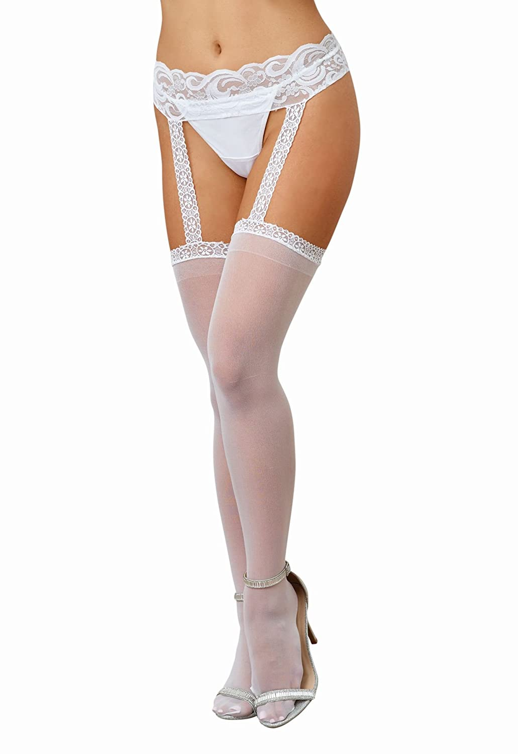 Dreamgirl, Women's Verona Hosiery Garter with Attached Thigh Highs One Size Black NEY9A 0013-BLACK-O/S