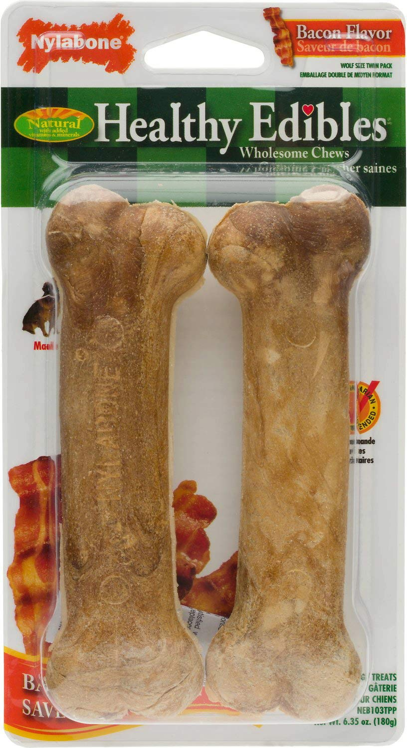 Nylabone Healthy Edibles Dog Treats with Vitamins Twin Count, Bacon, Wolf, 5.25 Inch, 36 Pack