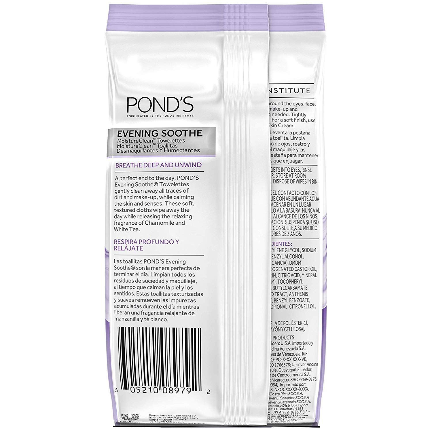 Amazon.com: Ponds Evening Soothe Wet Cleansing Towelettes with Chamomile and White Tea, 28 Count (Pack of 2): Beauty