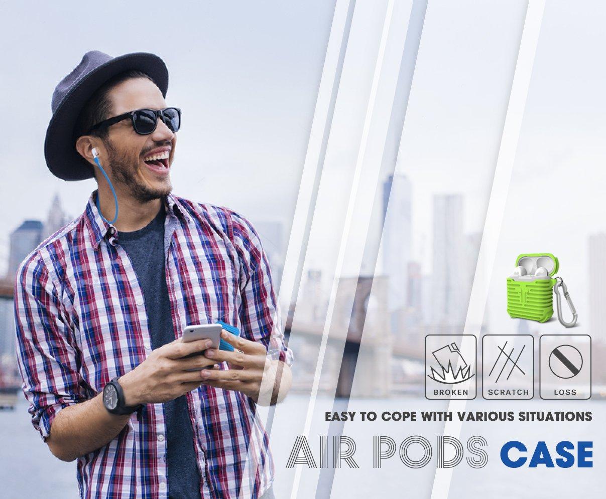 MeanLove coque silicone avec sangle de Sport pour vos Airpods Apple Noir Etui + Sangle Etui Protecteur AirPods