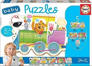 Educa - Baby Puzzles, puzzle infantil Tren de los animales, 5 puzzles progresivos de 3 a 5 piezas, a partir de 24 meses (17142): Amazon.es: Juguetes y juegos