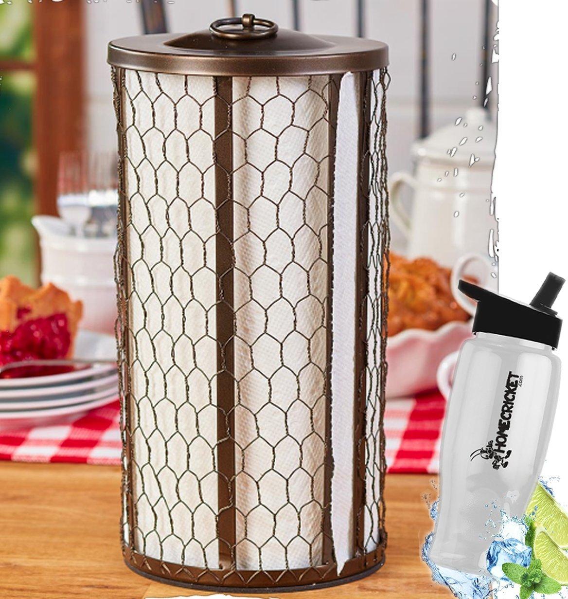 Gift Included- Farmhouse Kitchen Countertop Chicken Wire Paper Towel Holder Bronze + FREE Bonus Water Bottle by Homecricket