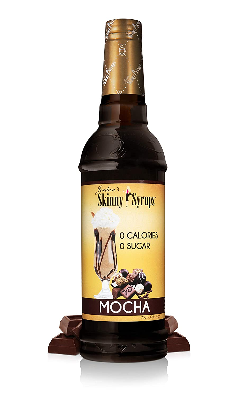Jordan's Skinny Syrups   Sugar Free Mocha Coffee Syrup   Healthy Flavors with 0 Calories, 0 Sugar, 0 Carbs   750ml/25.4oz Bottle