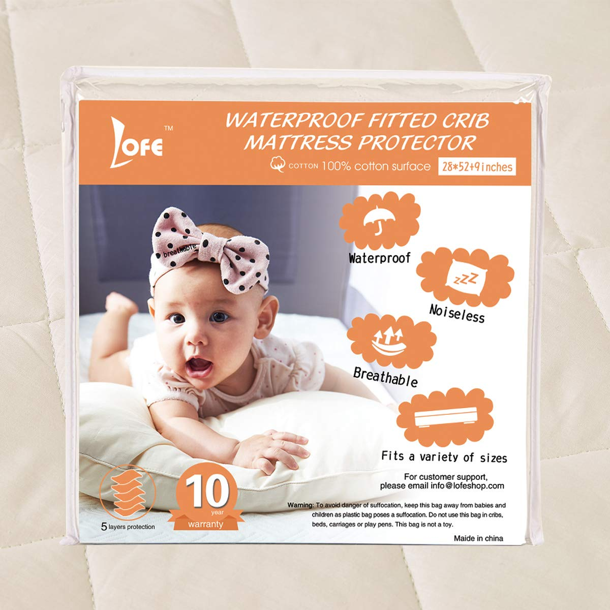 Lofe Organic Cotton Fitted Crib Mattress Protector Waterproof - Infant Breathable Crib Mattress Pad - Toddler Baby Crib Mattress Cover by Lofe