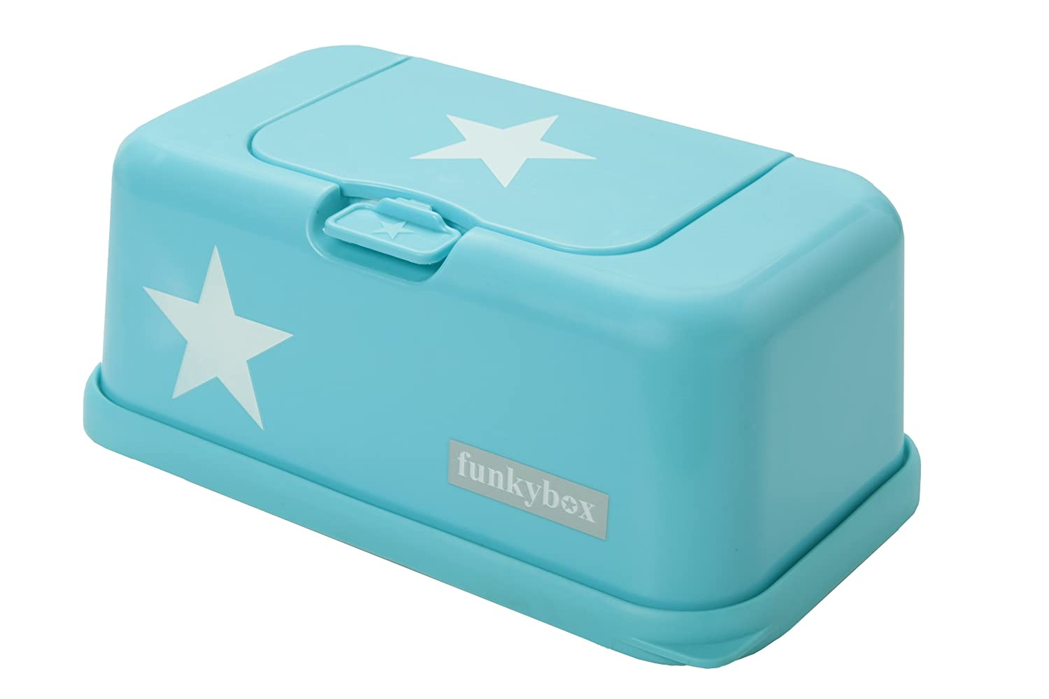 FunkyBox Easy Wipe Dispenser Box Turquoise blue white star Poll&Poll