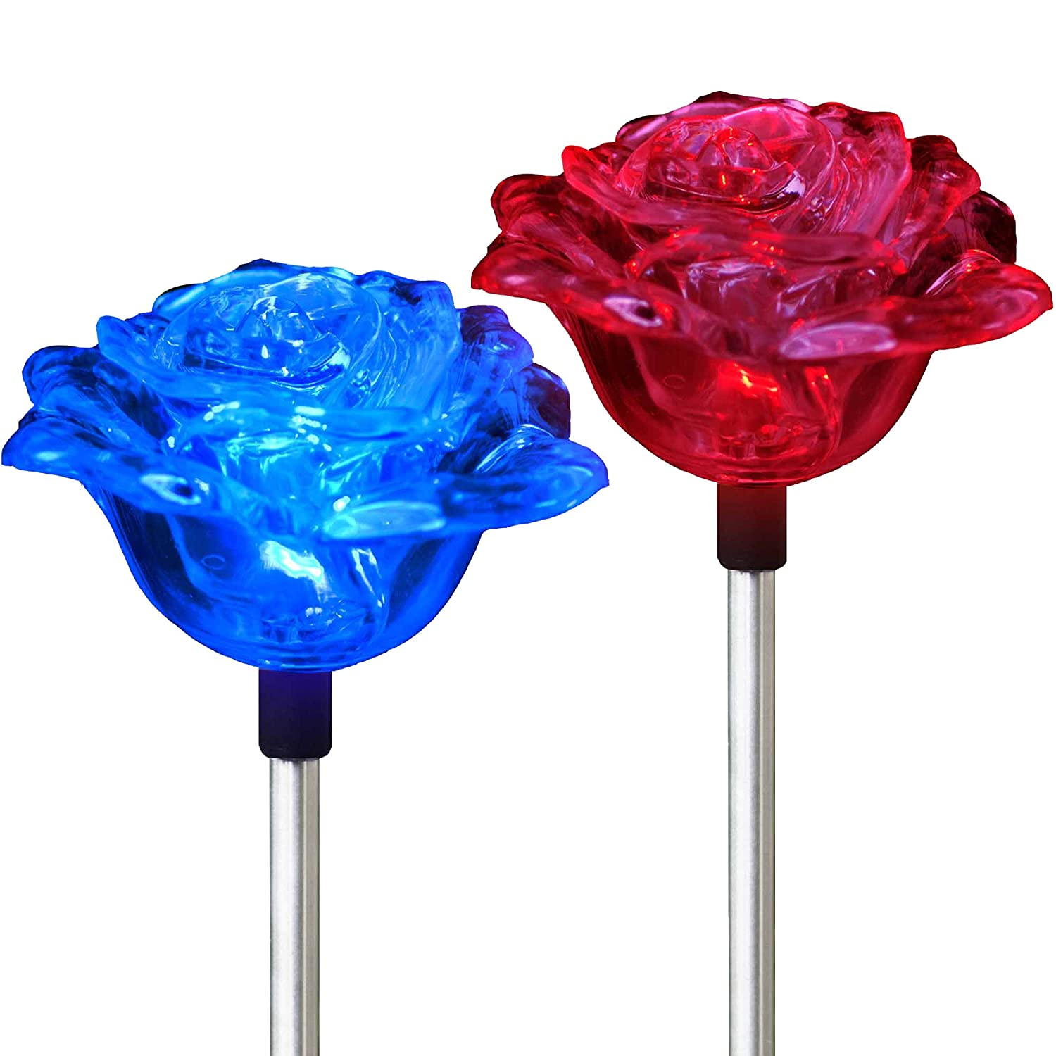 amazoncom solar rose lights holiday outdoor decoration color changing rose flower pathway garden stakes for christmas thanksgiving patio lawn yard path