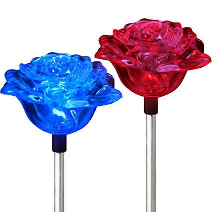 Amazon solar rose lights holiday outdoor decoration color solar rose lights holiday outdoor decoration color changing rose flower pathway garden stakes for christmas thanksgiving aloadofball Images