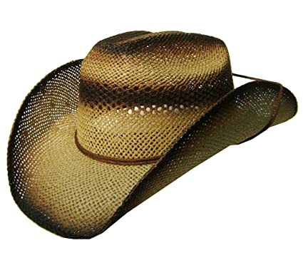 3b4728a7cec384 Image Unavailable. Image not available for. Color: Modestone Unisex Straw  Cowboy Hat Chinstring Tan Black