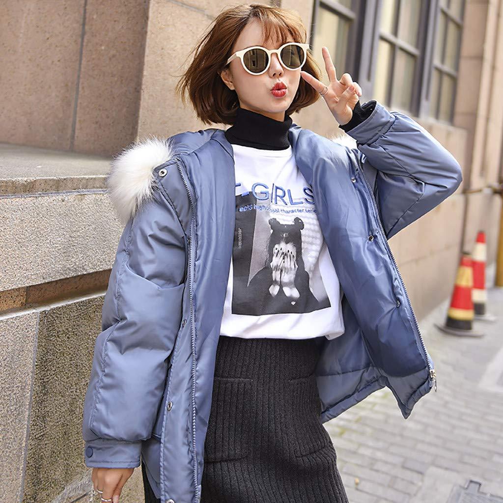 Women's Parka Jacket Faux Fur Hooded Jacket Thicker Bread Clothing Tunic Parkars Zip Up Big Pockets Winter Warm Jackets Overcoat by Hatop-