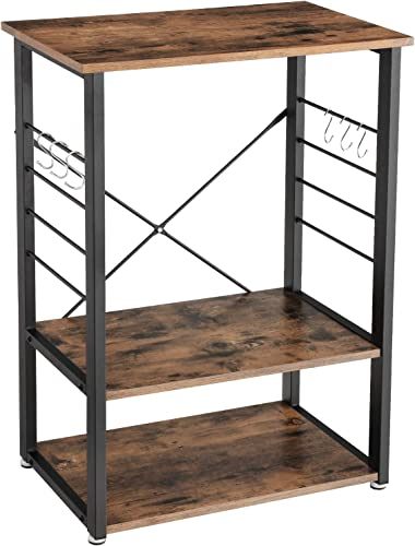 VASAGLE Industrial Kitchen Baker s Rack, Microwave Oven Stand with Metal Frame and 6 Hooks, Multifunctional Shelves in The Kitchen Living Room, Wood Look UKKS60X
