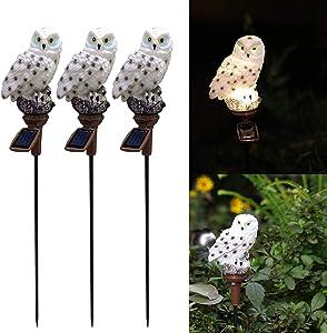 Solar Owl Light, 3 Pack Owl Night Light, Solar Powered Owl for Walkway Yard Lawn Landscape Lighting Decoration, Waterproof, Energy Saving. (White Owl)