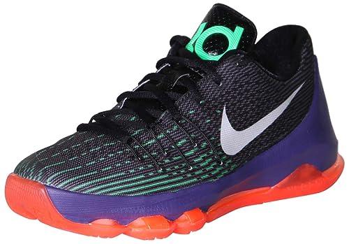 ecc99e67e95 Nike Youth Boys KD 8 Basketball Shoes-Black Green Shock Hyper Orange-