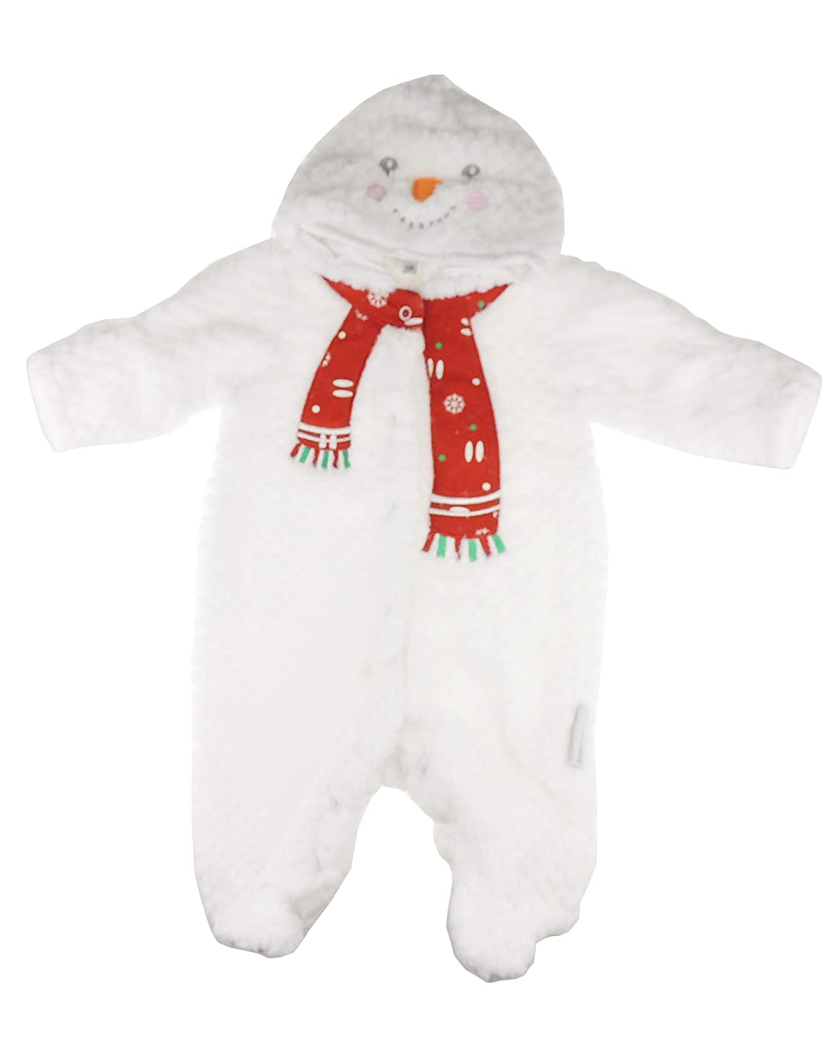 Baby Girls Boys Winter Super Soft Christmas Festive Plush Romper All in One Hoodie White Snowman