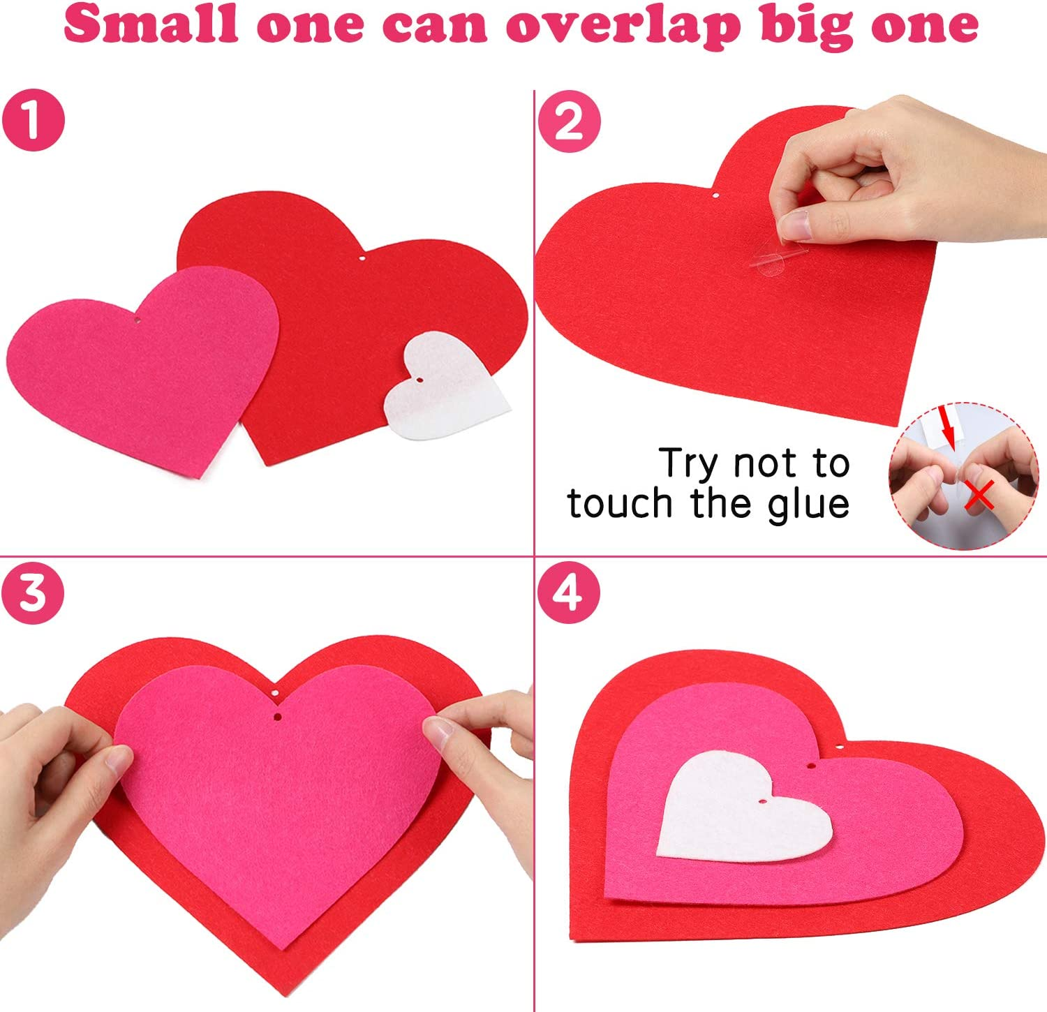 Ticiaga 60pcs Felt Red Heart Cut-outs for Valentines Day Decor Valentine Wedding Anniversary Birthday Party Supply Cake Topper Swirl Ceiling Decor Pink Heart Table Topper Red Heart Garland Banner
