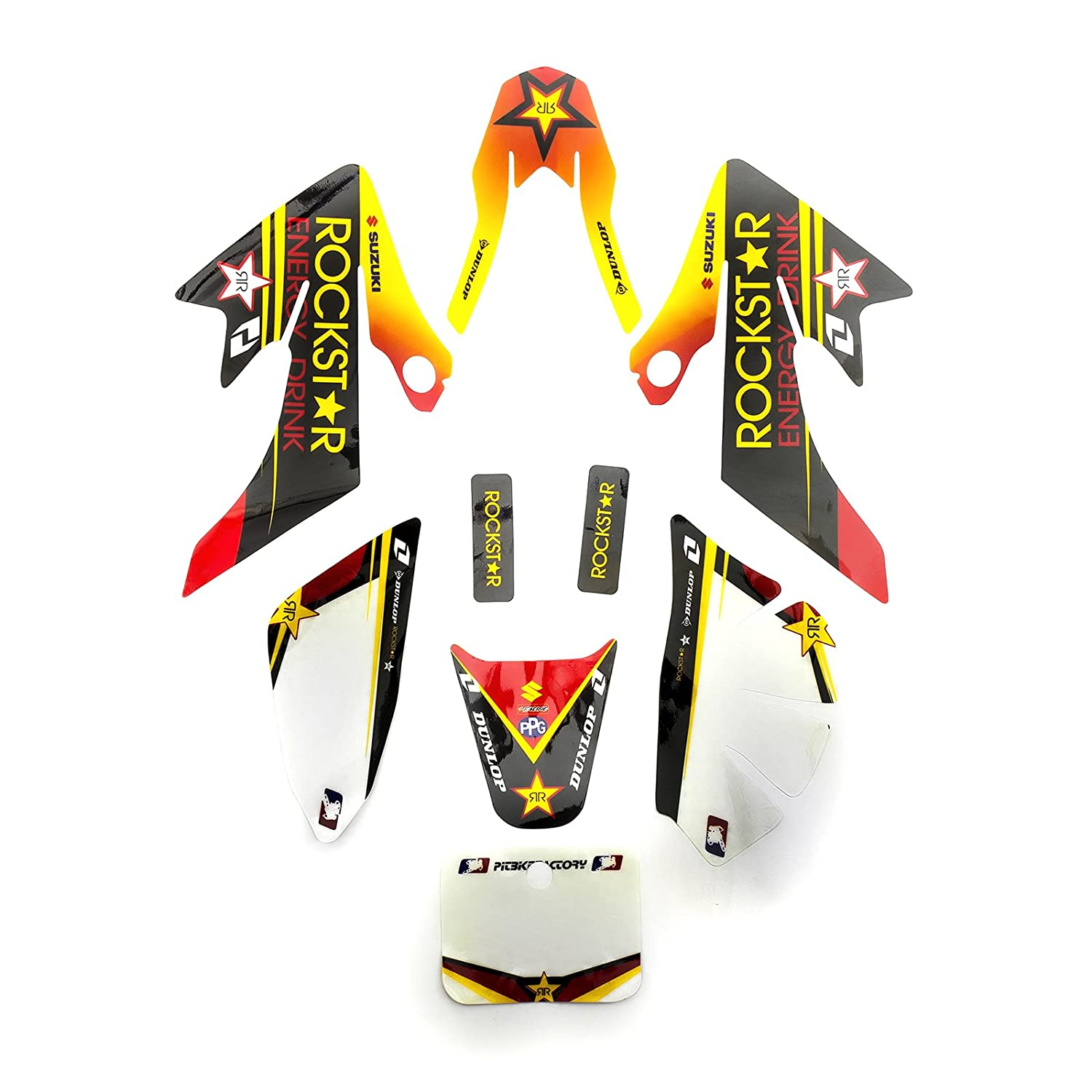 Pit Dirt Bike Yellow Plastic Rockstar Sticker Set 50cc 110cc 125cc