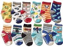 6 Pairs Anti-Slip Non Skid Cozy Ankle Cotton Socks Baby Boys Girls Toddler Walker Cartoon Sneakers Crew Socks with Grip...