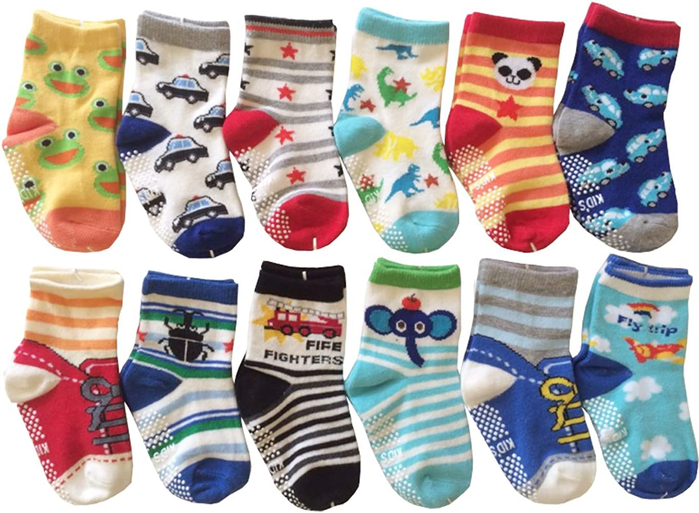 4pairs Baby Boy Girls Anti Slip Socks Toddler Kid Cotton for Age 0-24Months