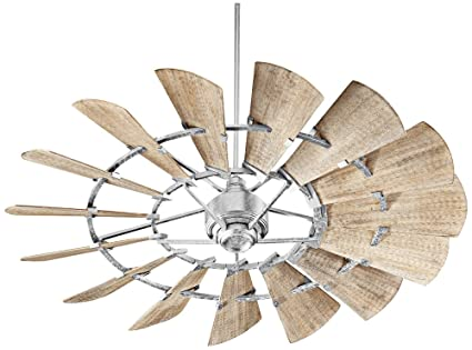 Quorum 196015 9 Windmill Ceiling Fan In Galvanized With Ul Damp Weathered Oak Blades