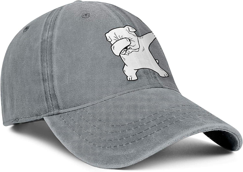 White English Bulldog Dabbing Unisex Baseball Cap Highly Breathable Fishing Caps Adjustable Trucker Caps Dad-Hat