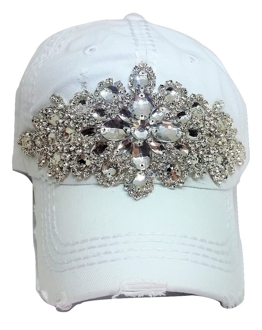 Olive & Pique Women's Horizontal Bling Distressed Baseball Cap (White)