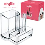 Clear Acrylic Makeup Organizer, Arranges Makeup Brushes and Cosmetics, 3 Compartment Storage Display Holder, By Kryllic®