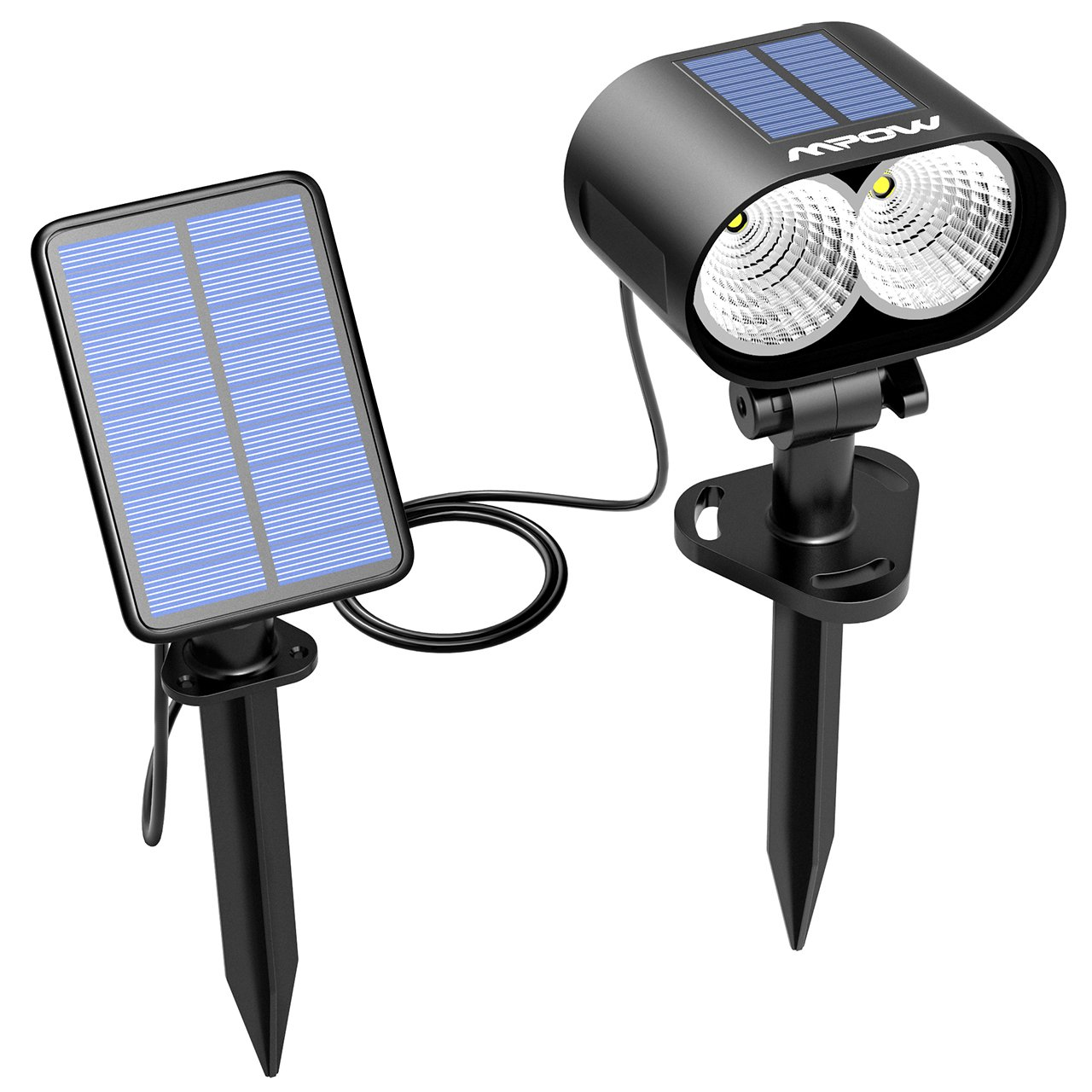 Mpow Solar Spotlight, 2-in-1 Outdoor Patio Light Security Spotlight Wall Light with 2 Solar Panel for Landscape, Lawn, Garden, Deck,Yard, Pathway (1 Pack)