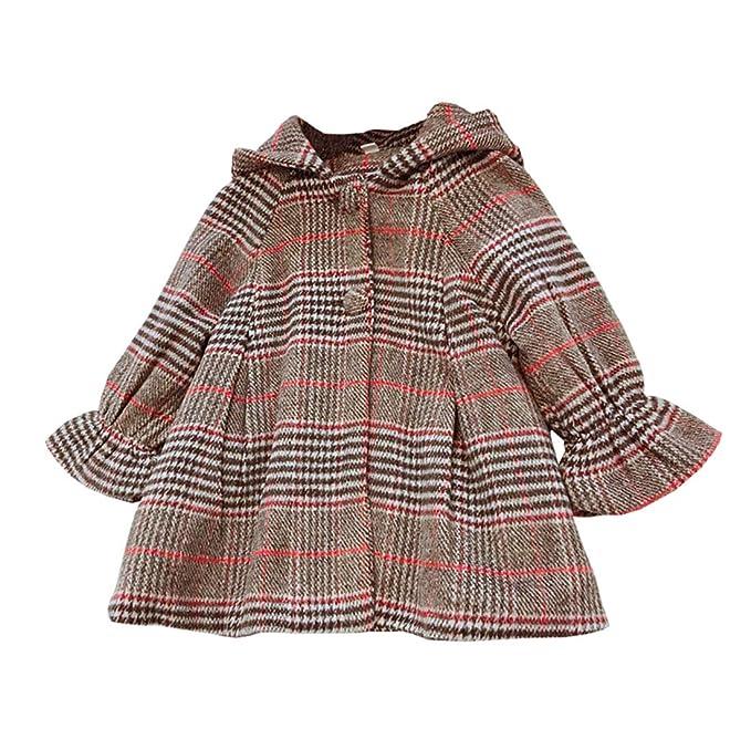 ALLAIBBCapa de niña a Cuadros Caramelo Abrigo cálido Otoño Invierno Abrigo Bata de algodón 2-6T: Amazon.es: Ropa y accesorios