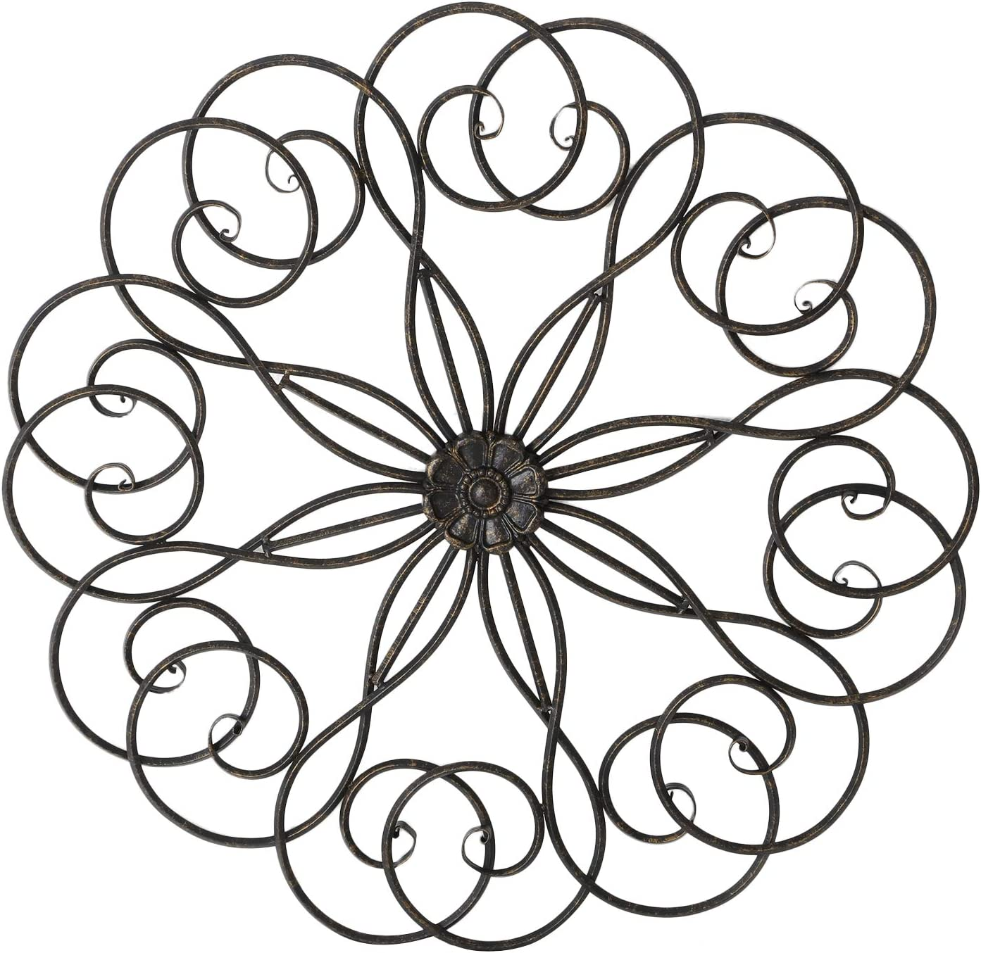 Adeco Scrolled Flower Metal Decor, Art Circle Living Room Home Decoration-28x28 Inches Wall Sculptures, Black