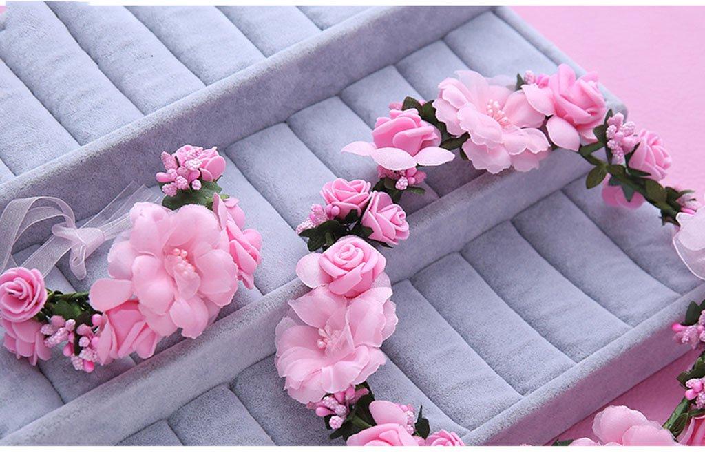 Wreath Flower, Headband Flower Garland Handmade Wedding Bride Party Ribbon Headband Wristband Hairband (Color : F)