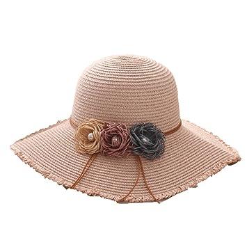 Eric Hug hat Ladies Summer Straw Hats Female Flower Foldable Beach Sun Hats  Solid Large Big ba869cc84a48