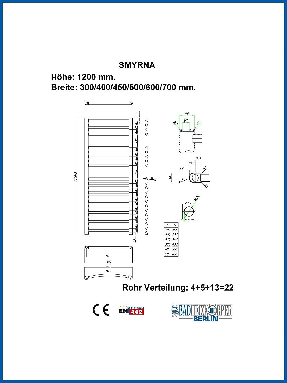 Gebogen Standardanschluss Handtuchtrockner Handtuchw/ärmer Badheizk/örper SMYRNA Wei/ß 500 x 600 mm