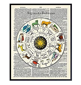 Zodiac Dictionary Wall Art Print - Unframed Photo - Super Chic Home Decor for Bedrooms, Living Rooms, Bathrooms And More - Perfect Gift For Astrology Lovers – Ready to Frame (8x10)