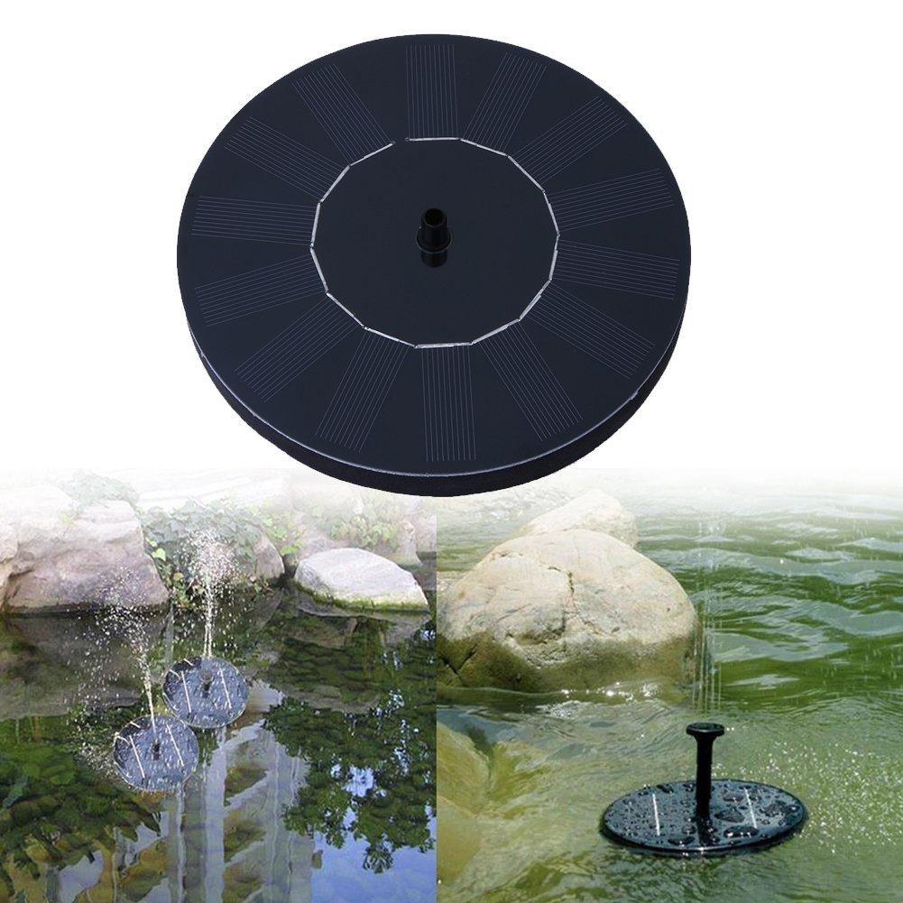 Solar Fountain, Solar Powered Water Pump 1.5W Solar Panel Kit, Outdoor Watering Submersible Pump for Pond, Pool, Garden, Fish Tank, Aquarium (round)