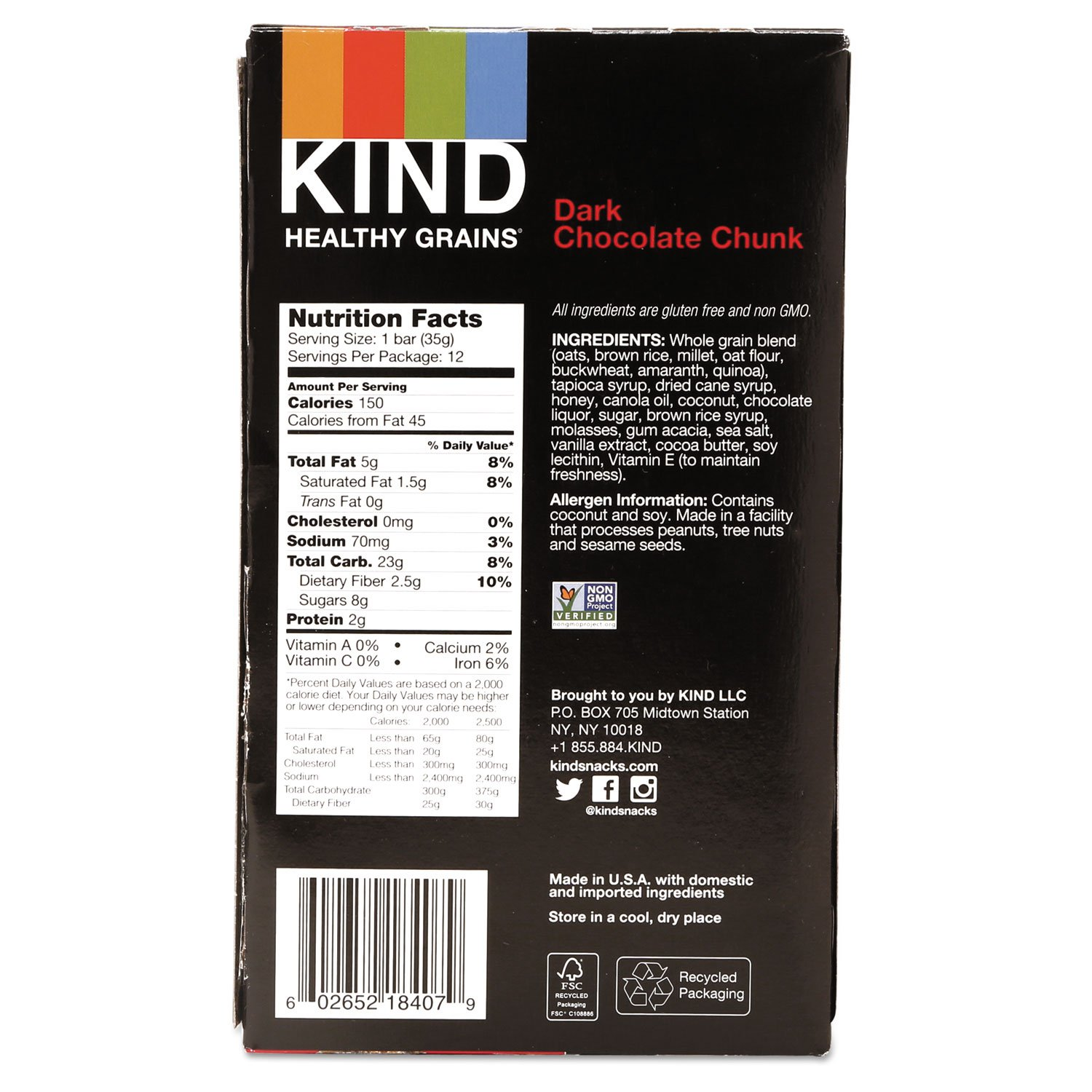 KIND Healthy Grains Bar, Dark Chocolate Chunk, 1.2 oz, 12/Box by KIND