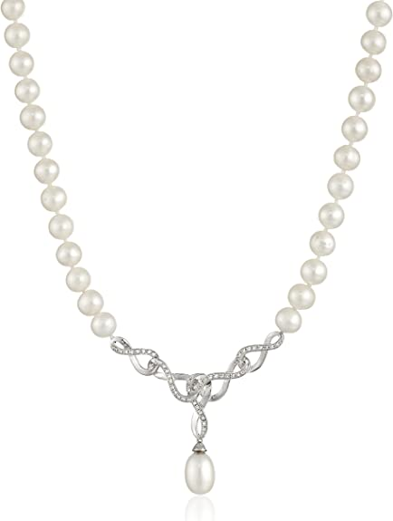 Cultured White Pearl /& White Topaz 925 Sterling Silver Wing Pendant