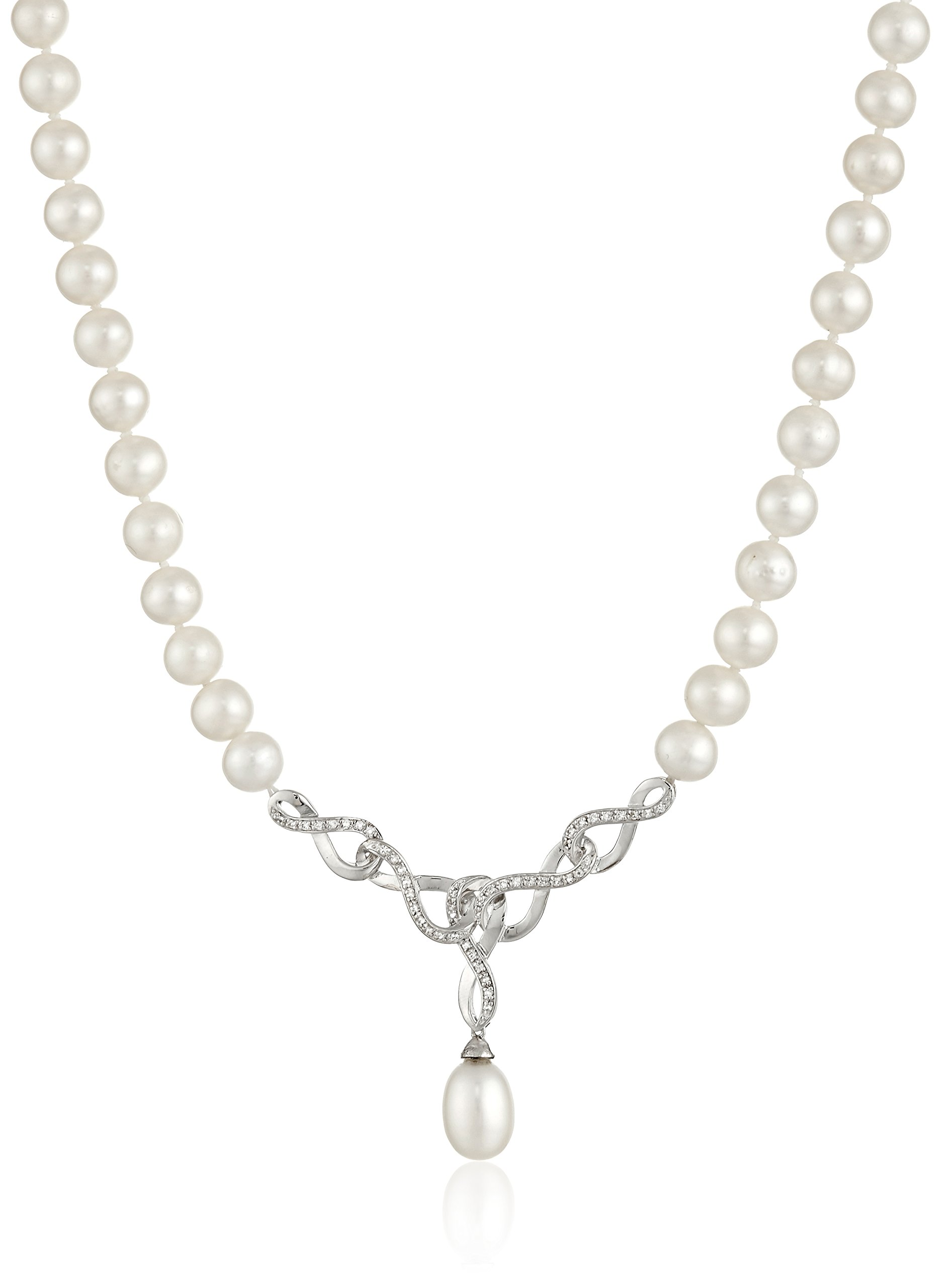 Freshwater Cultured Pearl and White Topaz Interlocking Pearl Strand Necklace With Pendant, 18''