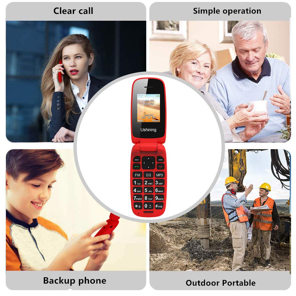 Ushining Unlocked Flip Cell Phone for Seniors,Easy-to-Use,Long Standby time,T-Mobile Card Suitable (Red) by USHINING (Image #3)
