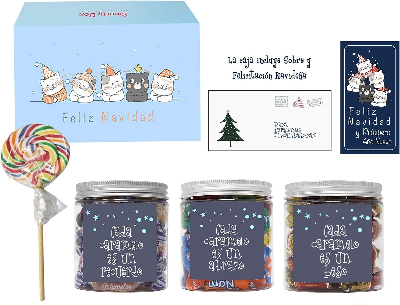 SMARTY BOX Caja Gatitos Navidad Regalo original de Caramelos y Gominolas Navidad, Surtido Chuches, Chucherías sin Gluten Caramelos Toffee, Masticables frutas y Gominolas Naturales, Golosinas