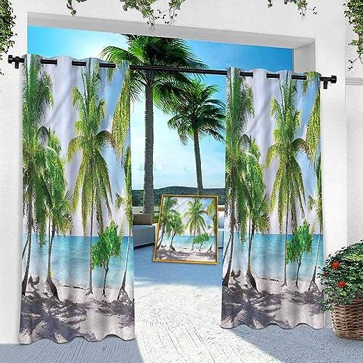 Cortinas de pérgola al aire libre, playa, palmeras isla orilla, 108 pulgadas de largo sol cortina vertical para puerta corredera de vidrio/terraza/pabellón/corredor/porche (1 panel): Amazon.es: Hogar