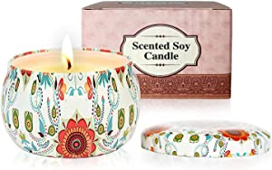 Scented Candles Gifts Set for Women: Rose Natural Soy Wax Travel Tin Fragrance Gift for Home Valentine's Day Birthday Mother's Day Bath Yoga