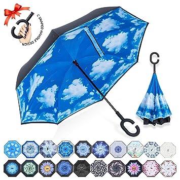 ZOMAKE Paraguas Invertido con Manos en Forma de C Mango, con Diseño de Doble Capa