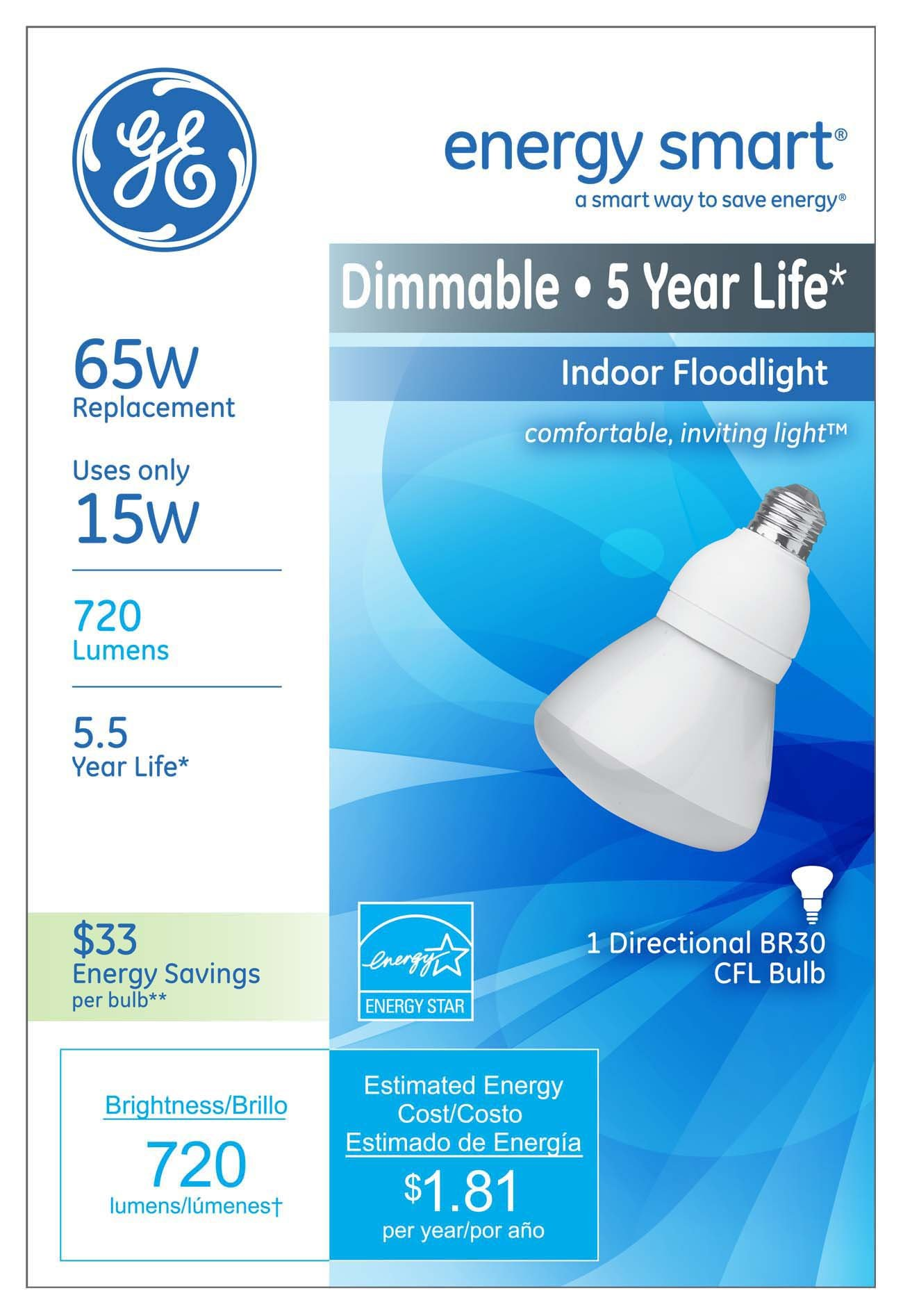 GE 21709 Energy Smart 15 Watt R30 Dimmable CFL Floodlight by GE (Image #1)