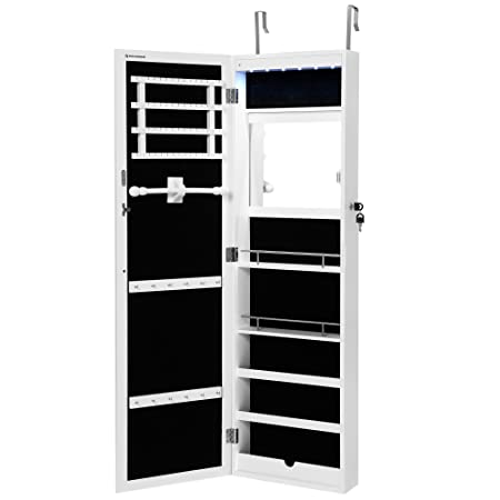 SONGMICS Jewellery Cabinet With LED Light Wall/Door Mount Mirrored Built In  Mirror
